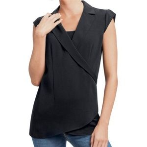 CAbi Origami Top #757 Cap Sleeves Faux Wrap Top M